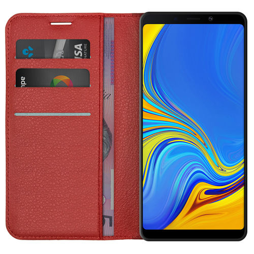 Leather Wallet Case & Card Holder for Samsung Galaxy A9 (2018) - Red